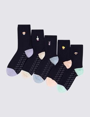 Kadın Lacivert 5'li Desenli Çorap Seti