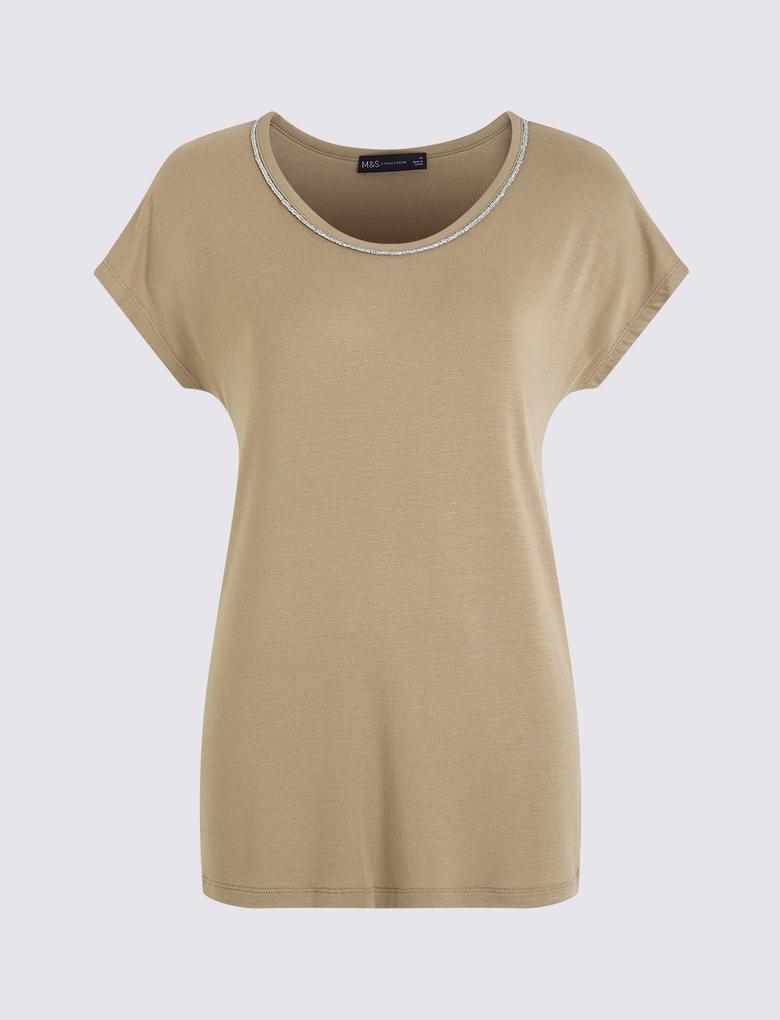 Kadın Kahverengi Kısa Kollu T-Shirt