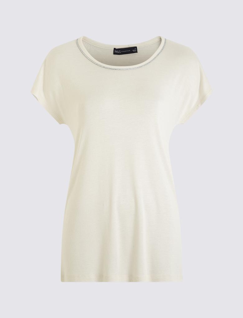 Kadın Bej Kısa Kollu T-Shirt