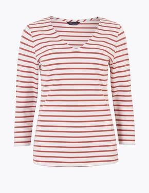 Kadın Pembe V Yaka T-Shirt