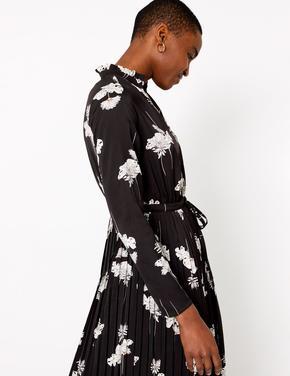 Siyah Çiçek Desenli Waisted Midi Elbise