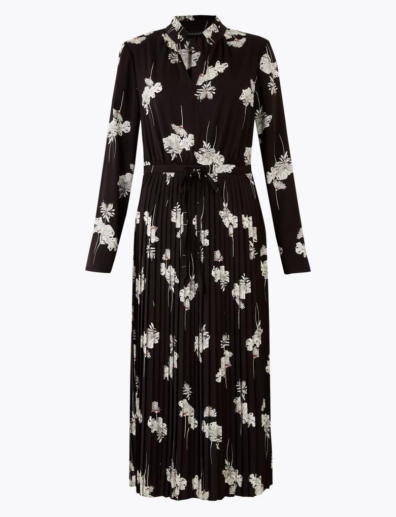 Kadın Siyah Çiçek Desenli Waisted Midi Elbise