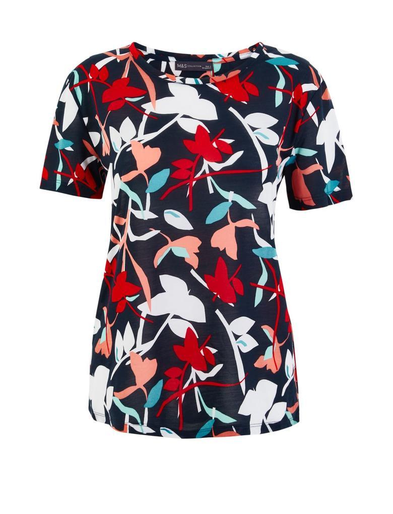 Kadın Lacivert Çiçek Desenli Relaxed Fit T-Shirt