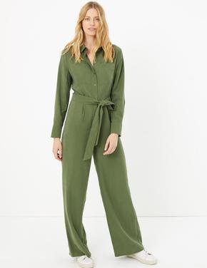 Kadın Yeşil Uzun Kollu Kemerli Tulum