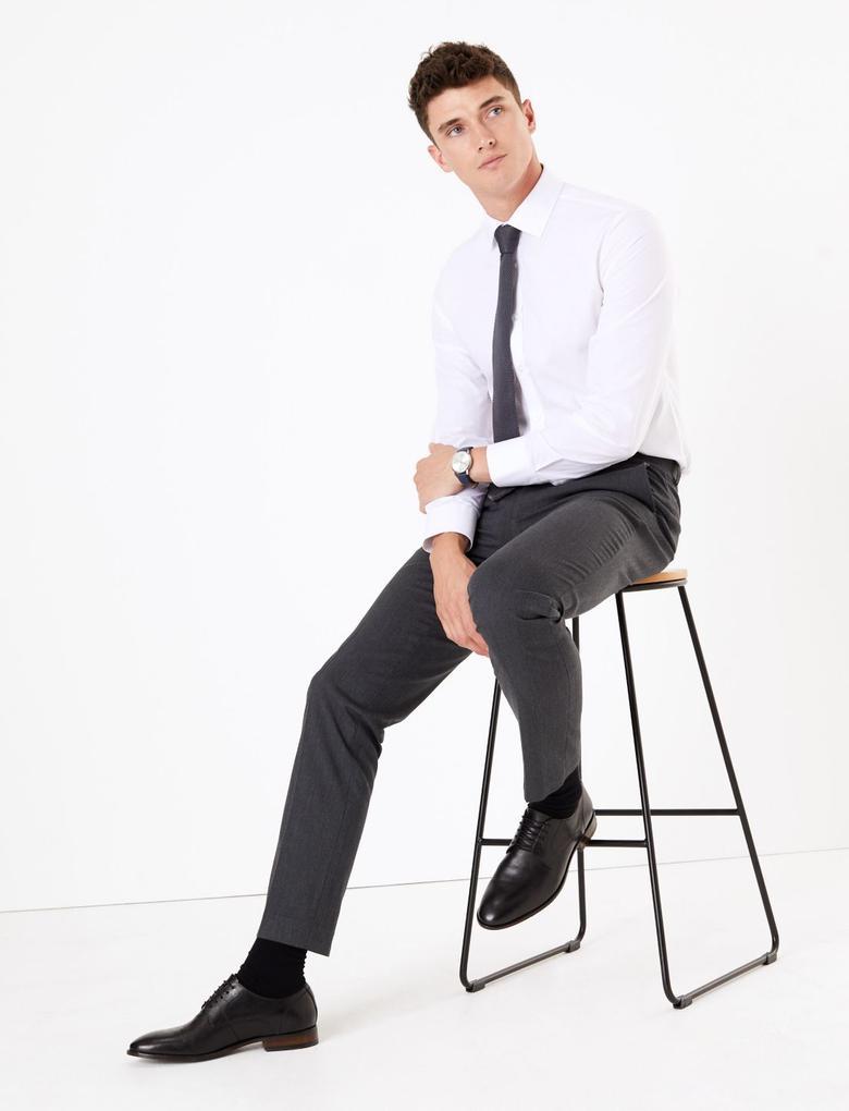 Erkek Gri Streç Slim Fit Pantolon