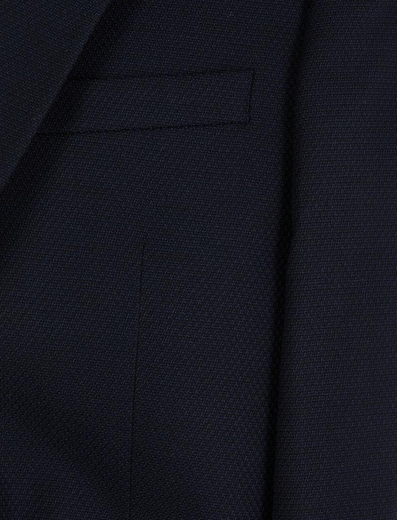 Erkek Lacivert Dokulu Regular Fit Ceket