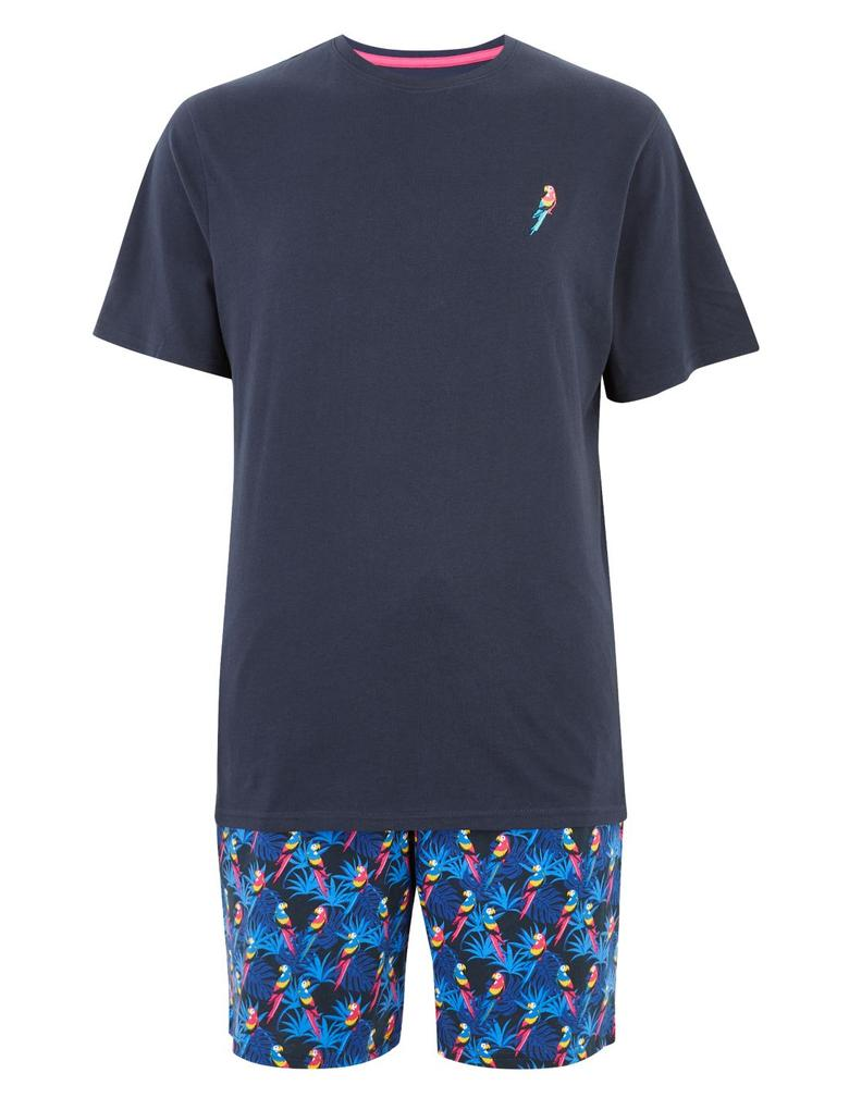 Erkek Lacivert Saf Pamuklu Desenli Pijama Takımı