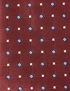 Bordo Geometrik Desenli Slim Kravat