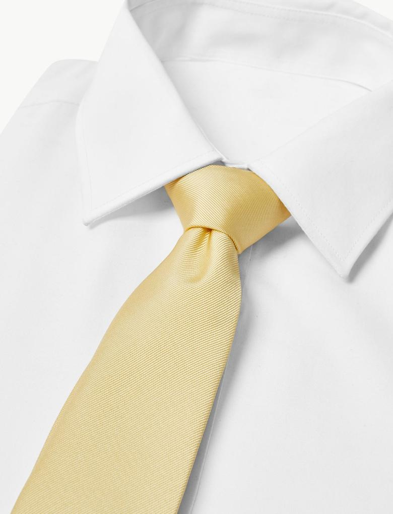 Erkek Sarı Özel Dokulu Kravat