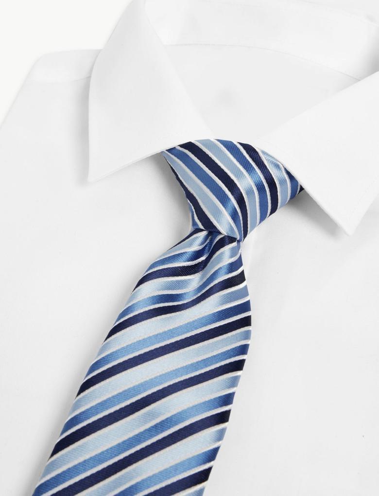 Mavi Çizgili Saten Slim Kravat