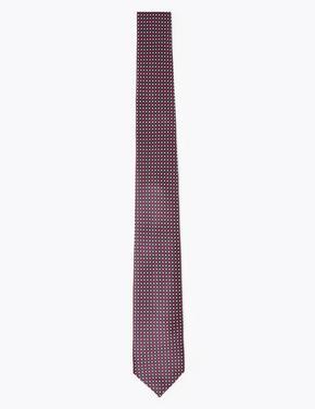 Bordo Mikro Geometrik Desenli Skinny Kravat