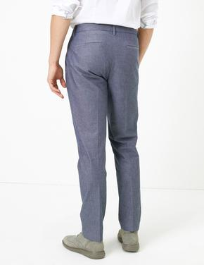 Erkek Mavi Slim Fit Chino Pantolon