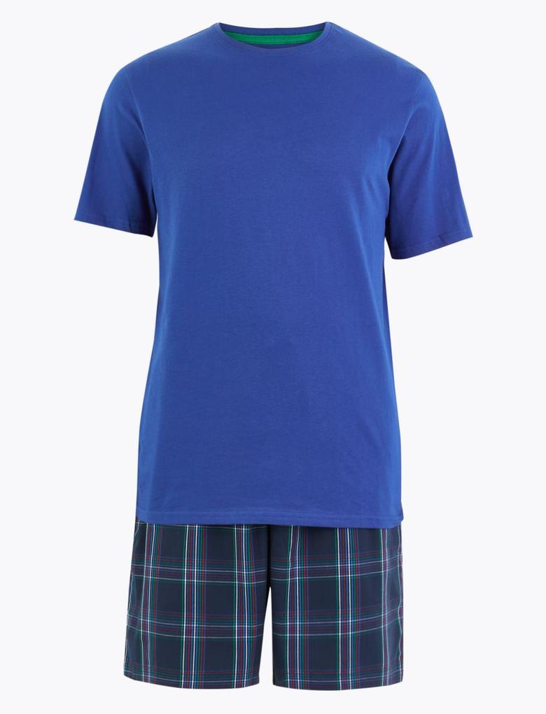 Erkek Mavi Saf Pamuklu Ekose Pijama Takımı