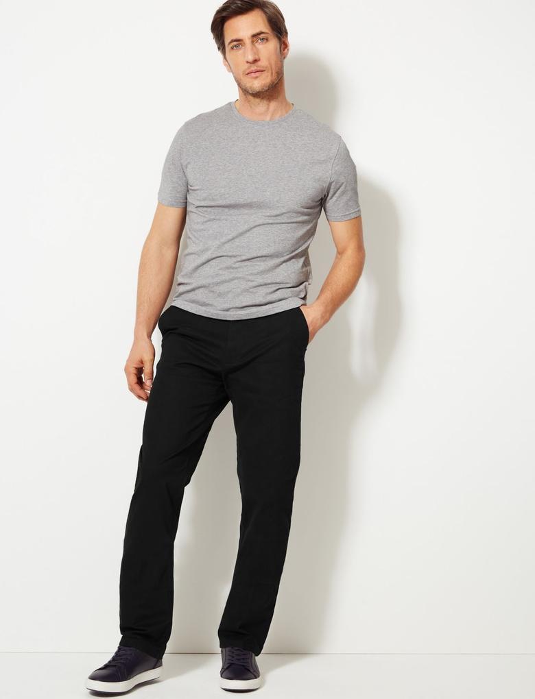 Erkek Siyah Regular Fit Chino Pantolon