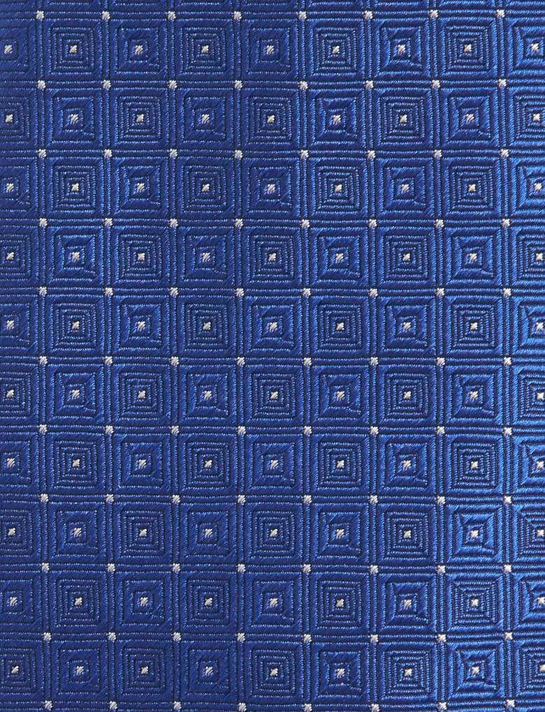 Mavi Saf İpek Desenli Kravat