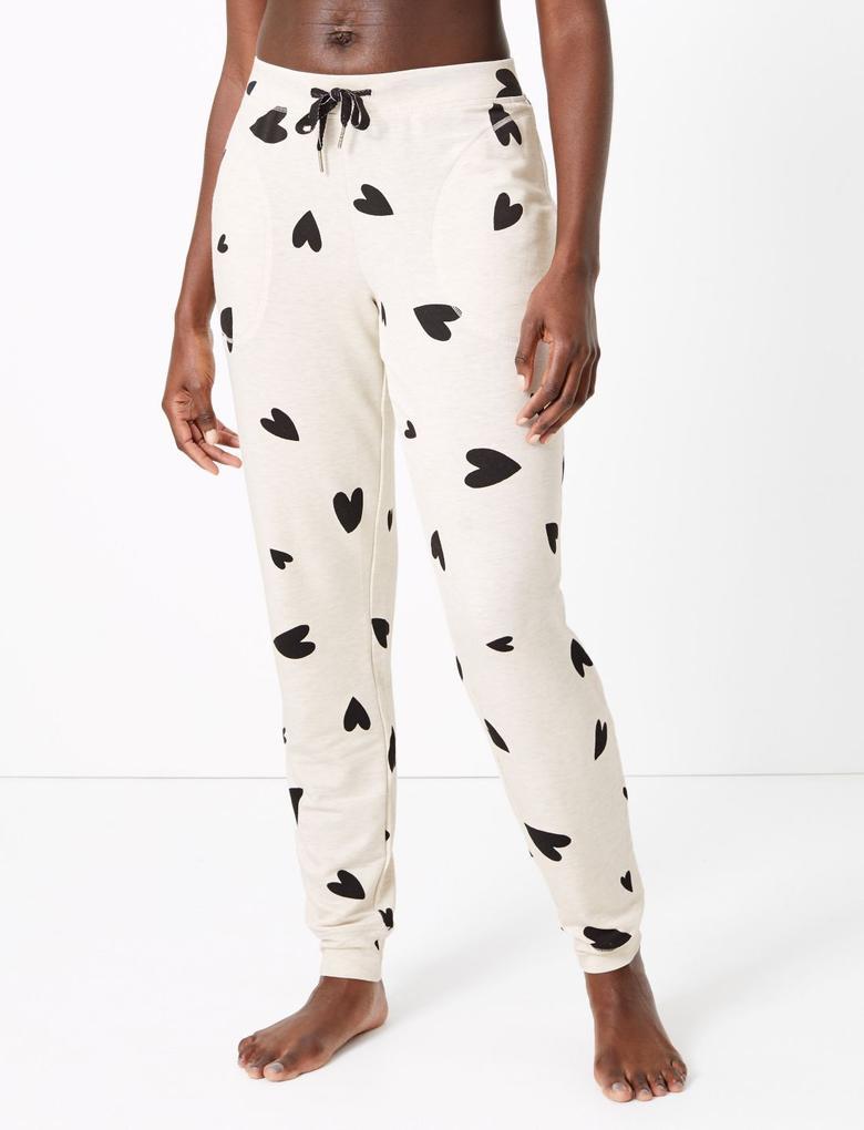 Kadın Bej Flexifit™ Kalp Desenli Pijama Altı
