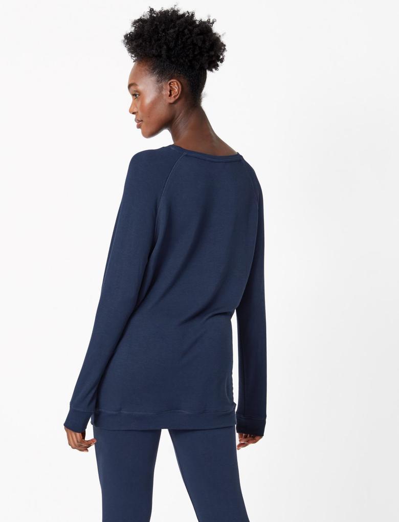 Kadın Lacivert Flexifit™ Sloganlı Pijama Üstü