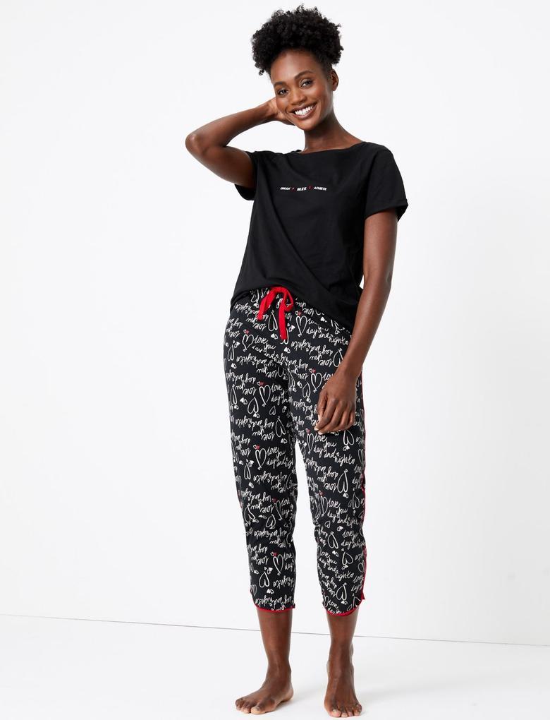 Kadın Siyah Kısa Kollu Sloganlı Pijama Üstü