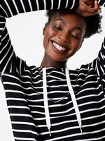 Kadın Siyah Flexifit™ Çizgili Pijama Üstü