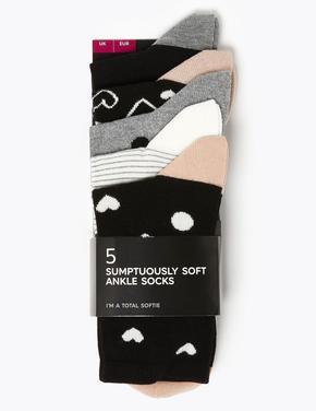 Kadın Siyah 5'li Sumptuously Soft Ankle Çorap Seti