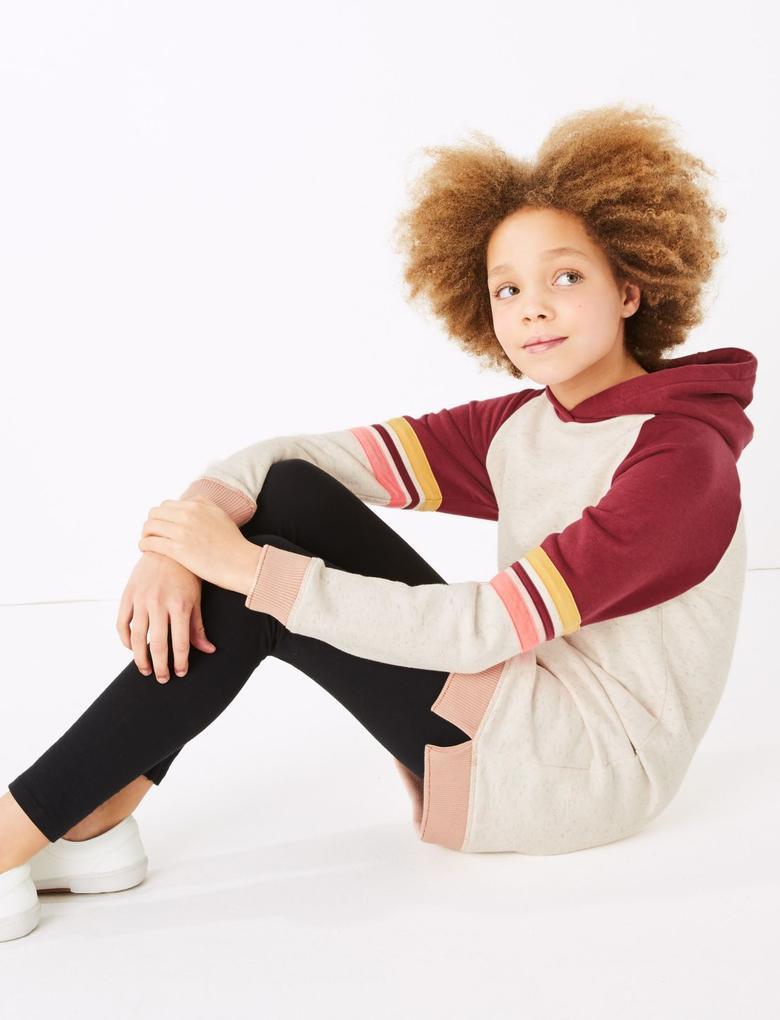 Kız Çocuk Pembe Kapüşonlu Sweatshirt