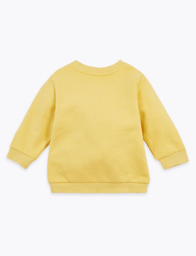 Bebek Sarı Leopar Desenli Sweatshirt