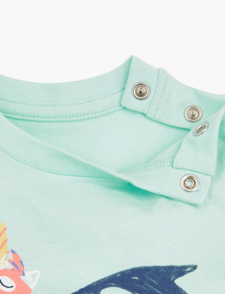 Bebek Yeşil Unicorn Desenli T-Shirt
