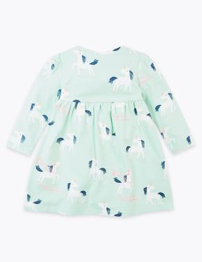 Bebek Yeşil Unicorn Desenli Elbise