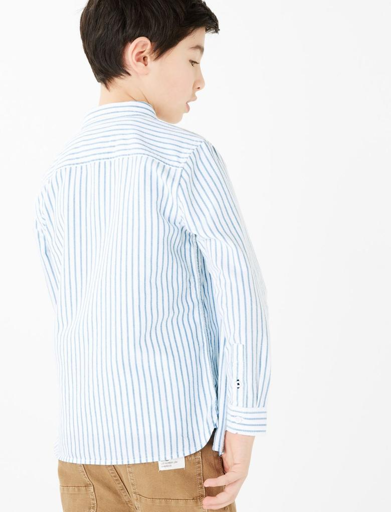 Erkek Çocuk Mavi Uzun Kollu Çizgili Gömlek