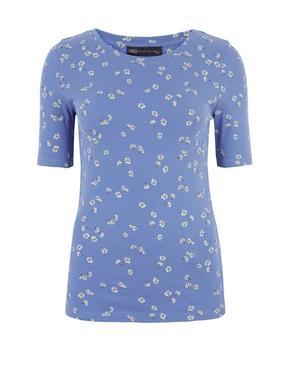 Mavi Saf Pamuklu Çiçek Desenli T-Shirt