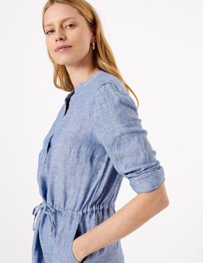 Kadın Mavi Keten Midi Gömlek Elbise