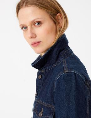 Kadın Lacivert Düğmeli Denim Ceket