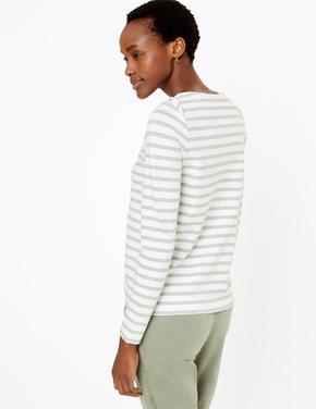 Kadın Gri Çizgili Uzun Kollu T-Shirt