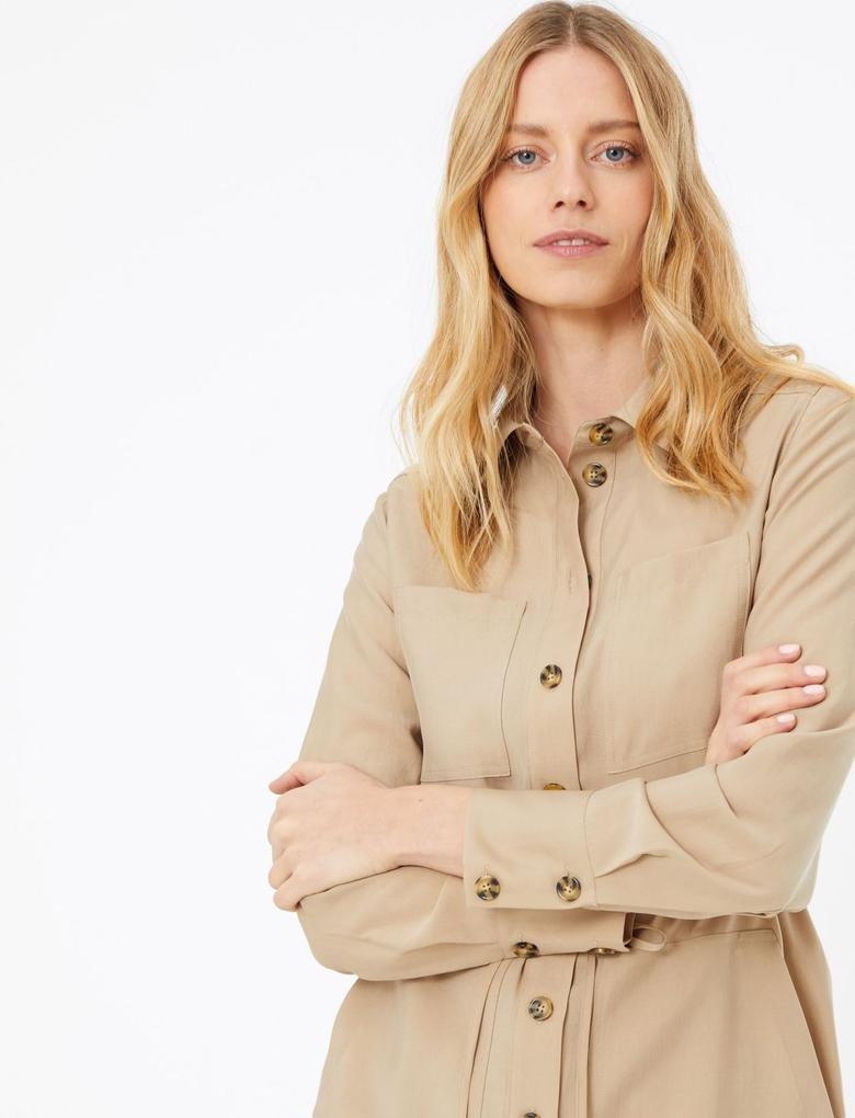 Kadın Kahverengi Utility Midi Gömlek Elbise
