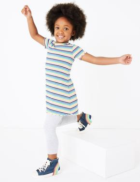 Kız Çocuk Multi Renk Renkli Çizgili Elbise