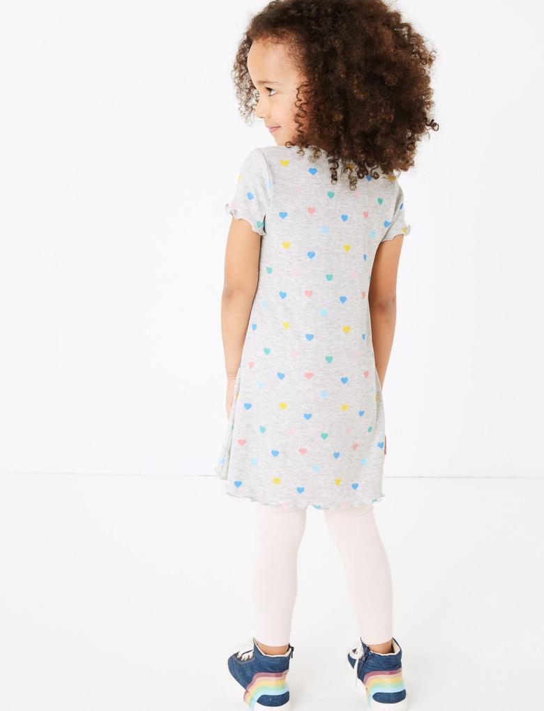 Kız Çocuk Multi Renk Kalp Desenli Elbise