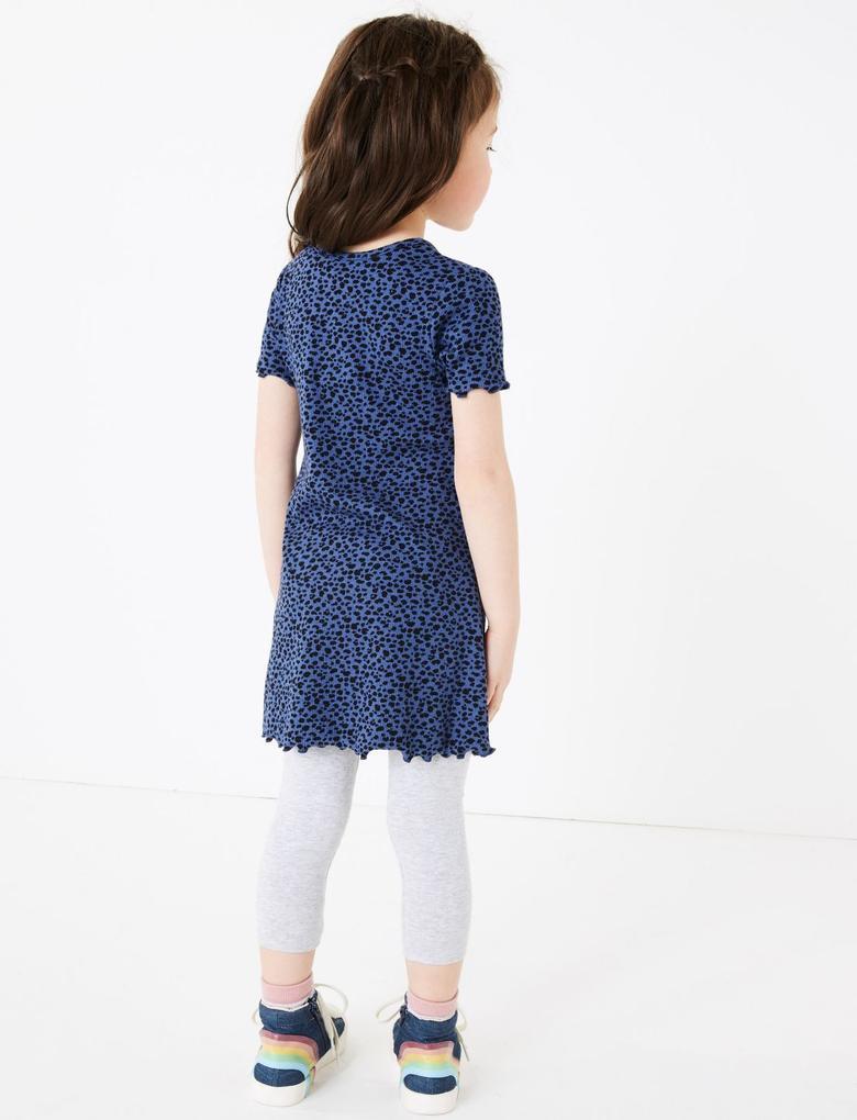 Kız Çocuk Multi Renk Desenli Kısa Kollu Elbise