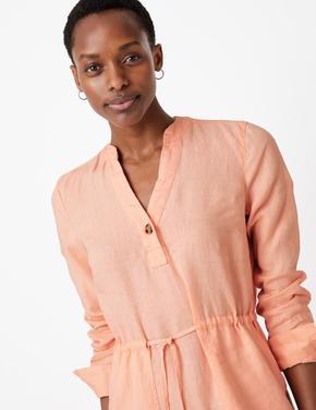 Kadın Pembe Keten Midi Gömlek Elbise