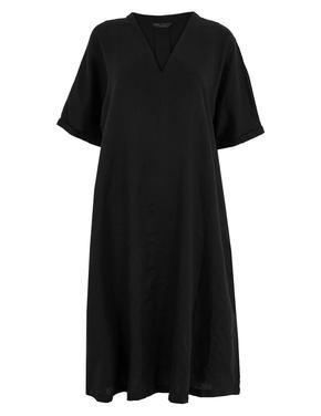 Kadın Siyah V Yaka Keten Elbise
