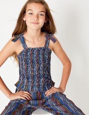 Kız Çocuk Lacivert Çizgili Tulum