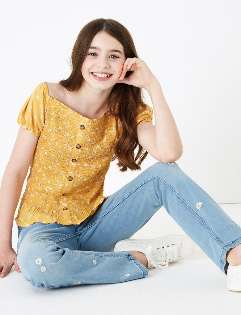 Kız Çocuk Sarı Çiçek Desenli Kısa Kollu Bluz