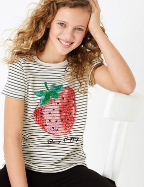 Kız Çocuk Siyah Pullu Çilek İşlemeli T-Shirt