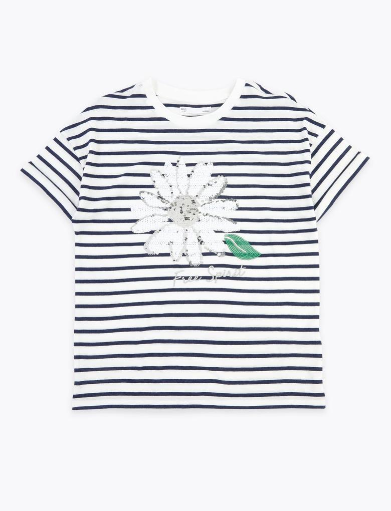 Kız Çocuk Beyaz Pullu Papatya İşlemeli T-Shirt