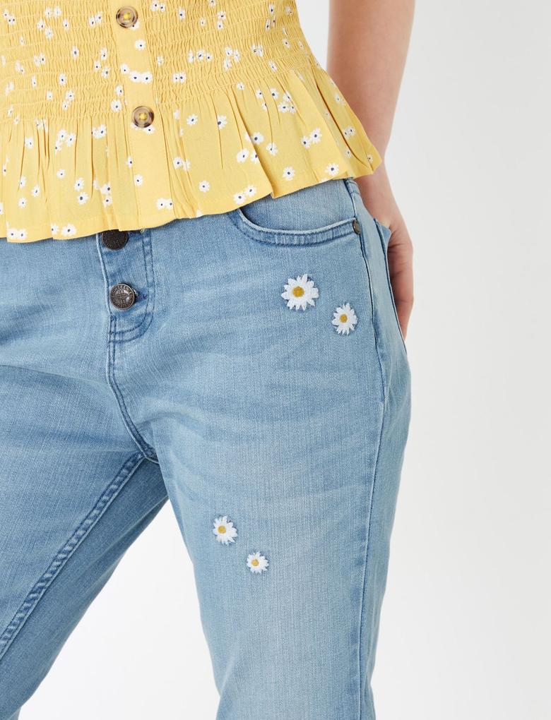 Kız Çocuk Mavi Çiçek İşlemeli Jean Pantolon