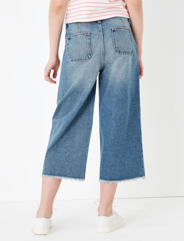Kız Çocuk Mavi Wide Legged Crop Jean Pantolon