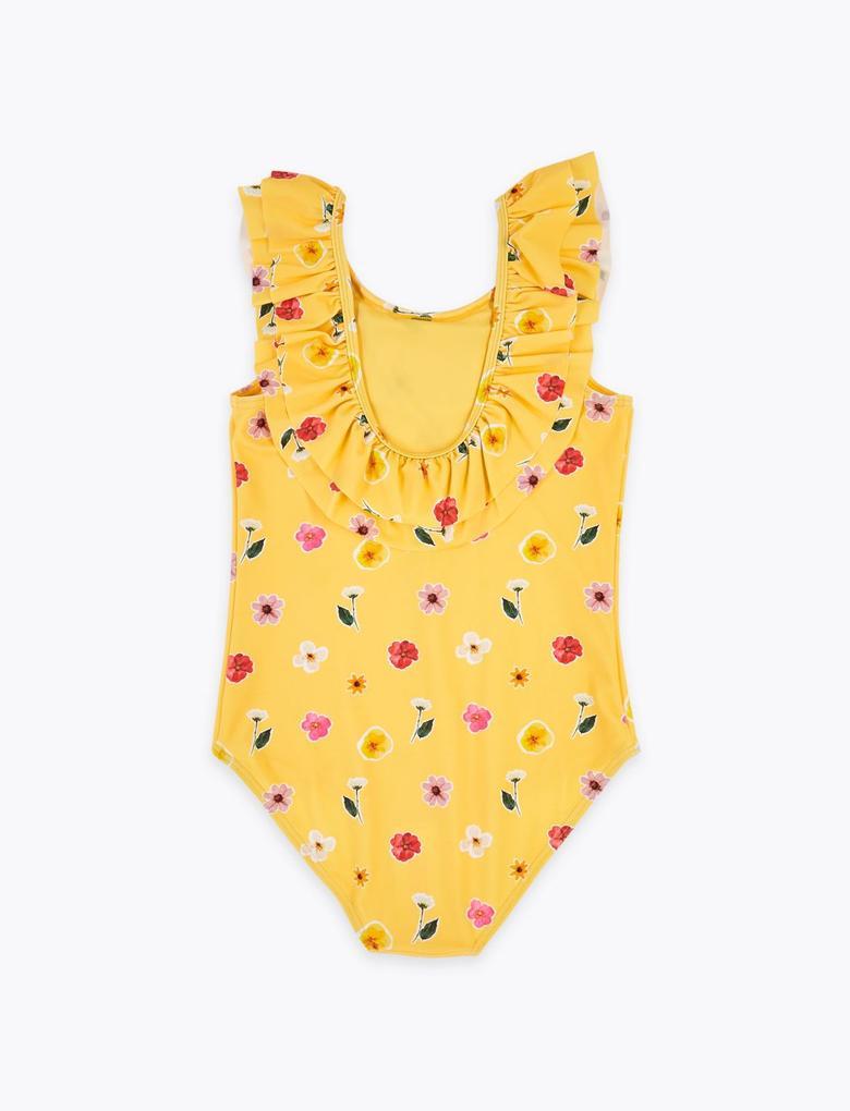 Kız Çocuk Sarı Fırfırlı Çiçek Desenli Mayo