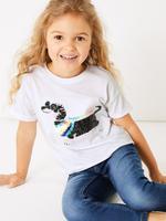 Kız Çocuk Beyaz Pullu Köpek İşlemeli T-Shirt