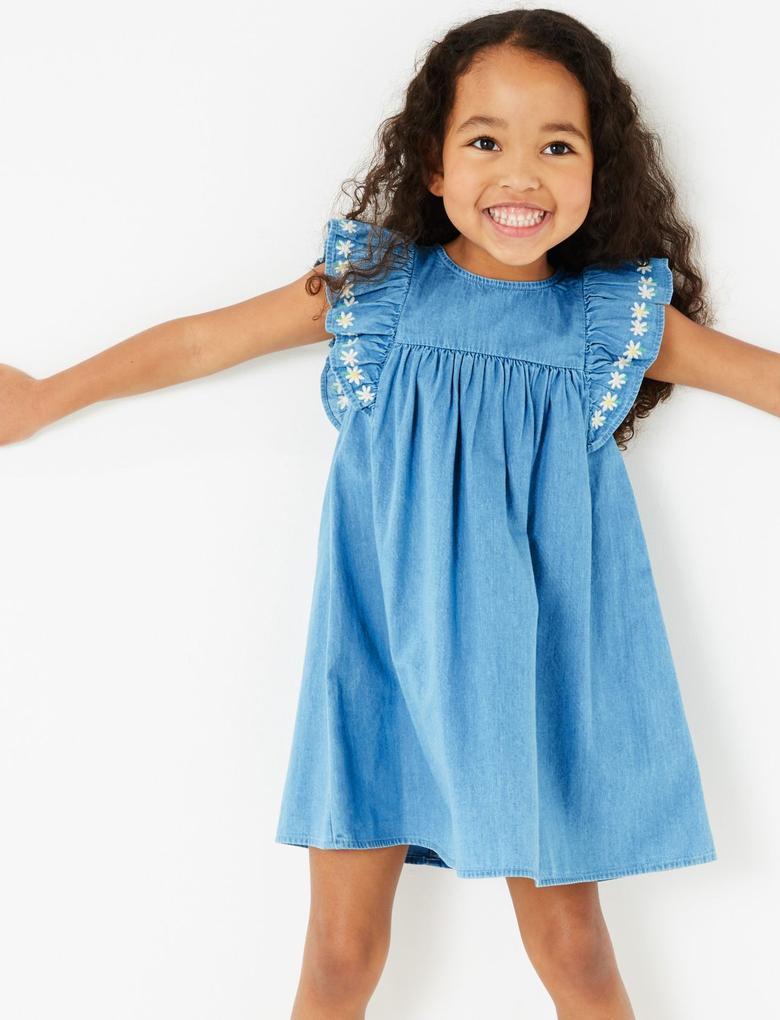 Kız Çocuk Mavi İşlemeli Şambre Elbise