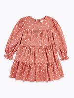 Kız Çocuk Pembe Leopar Desenli Elbise