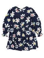 Kız Çocuk Lacivert Papatya Desenli Uzun Kollu Elbise
